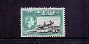 GILBERT & ELLICE IS. 1956 10/- BLACK & TURQUOISE SG75 MNH CAT £38