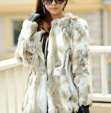 White Winter Warm Real Rabbit Fur Coat Nature Women overcoat Rabbit Fur Jacket