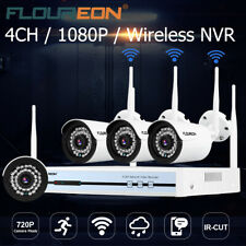 4Ch 1080P Wifi Wireless Nvr Surveillance Video Record Security Camera System Kit