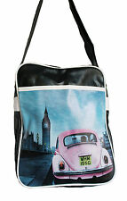 Retro overnight/gym/holdall/flight/school bag, black with PINK VW Beetle Bug new