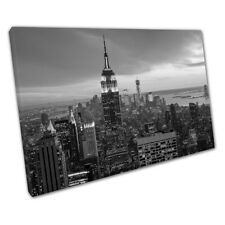 Black & White New York City evening skyline USA Print Ready to Hang Canvas X2351