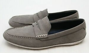 Cole Haan Mens Size 13 Gray Leather MotoGrand Grand Os Slip On Driving Loafers
