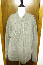 Damir Doma Oatmeal Gray Ribbed Knit Wool Wrap Sweater Sz 46 S/M Totokaelo