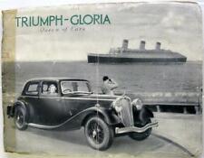 TRIUMPH GLORIA Car Sales Brochure Jan 1936
