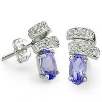 Ohrringe/Ohrstecker Jenna, 925er Silber, 0,92 Kt. echter Tansanit/Diamant
