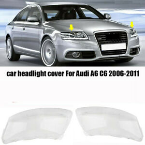 2pcs Headlight Clear Lens Cover Lampshade Lenses Cover L+R For Audi A6 C6 06-11