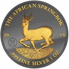 Gabon 2015 1000 Francs African Springbok Golden Enigma 1oz Ruthenium Goldplated
