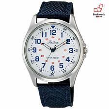 New CITIZEN Q&Q Watches Falcon QB38-314 White/Navy Nylon,Leather Belt Men's F/S
