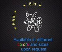 Vinyl Decal Sticker Pokemon 008 Wartortle 6in x 6.5in Wall.. Car Window