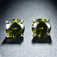 14K White Gold Plated Round Swarovski Crystal Peridot August Stud Earrings 7mm
