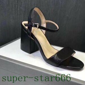 Peep Toe Suede Metallic Leather Strappy Sandals Chunky Heel Women Heel 2.75inch