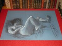 ANDRÉ LANDAUD 24-13 NAKED FEMALE Grd Drawing Charcoal-pastel blue paper 65X50