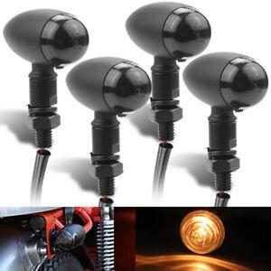 4X Motorcycle Bullet Turn Signal Light Amber Indicator For Bobber Racer Chopper