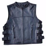 Gilet jacket cut en Cuir de Vachette - Style pare balle / Swat SOA Bikers HD