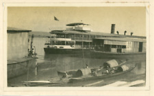 Burma, Boats on the Myanmar River  Vintage silver print.  Tirage argentique d&