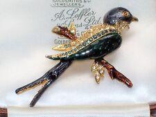VINTAGE JEWELLERY ENAMEL & RHINESTONE PERCHED BLUE BIRD SWALLOW BROOCH PIN