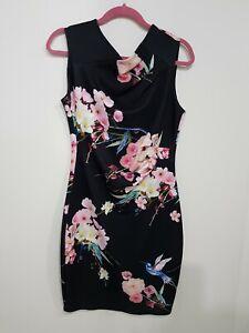Pink flowers + Black Lipsy London Floral Dress Size 14 very flattering