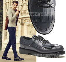 $990 GUCCI MENS SHOES 358271 LEATHER FRINGED BROGUE LACE-UPS GREY 9 9.5D 43
