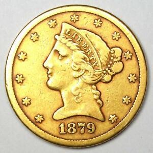 1879-CC Liberty Gold Half Eagle $5 Coin - VF Details - Rare Carson City Coin!