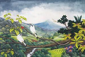 Hand painting Balinese White Starling 292