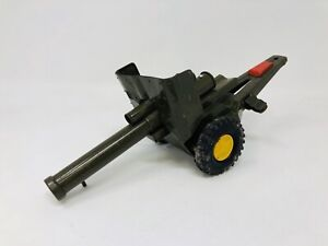 Vintage Made in Japan Tin Toy Artillery Cannon Green Spring Loaded Die Cast