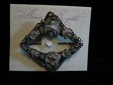 Anne Koplik Designs  - Scarf Pin - Mauve Roses - Swarovski Crystals- retired