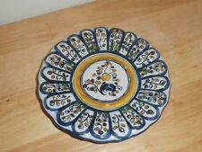 Vtg Talavera de la Reina Spain Ceramic Decorative Medium Blue & Yellow Plate