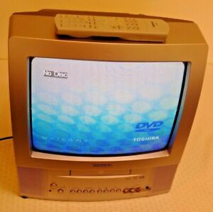 Toshiba 13'' TV DVD Combo Television CRT WORKS 2004 Gray MD13P3 w/ Remote TV/DVD