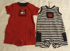 GYMBOREE Boys Size 0-3 Month Navy Striped Crab Shack Outfit Red Romper NWT