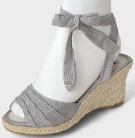 Womens Ladies Black Polka Dot Wedge Heel Ankle Tie Espadrilles Sandals Sizes