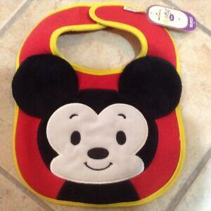 Hallmark itty bittys Baby Mickey Mouse Bib New  Disney Red Yellow So Cute!