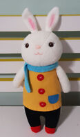 METOO RABBIT PLUSH TOY SOFT TOY YELLOW COAT RED BUTTONS BLUE SCARF 30CM!