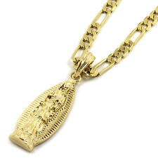 "Mens 14K Gold Plated Long Virgin Mary Pendant Hip-Hop 5mm/24"" Figaro Chain"