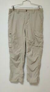 Columbia 36x30 Omni Shade Sun Protection Tan Cargo Hiking Fishing Pants *stain