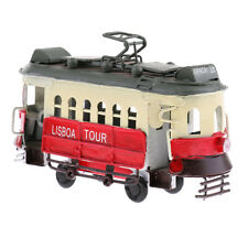 Vintage Scale Tram Model Diecast Vehicle Toy Streetcar Home Desk Decor Red