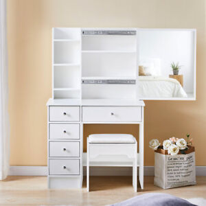 White Dressing table PU Stool Set 4 Drawers Multiple Storage with Sliding Mirror