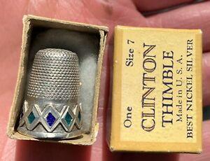 * Antique Silver Thimble JEWELED Clinton Box Holder COBALT BLUE & SAPPHIRE GREEN