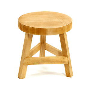 Wooden Stool Three Legged Seat Rustic Home Child Play Room Decor Brown 23cm High