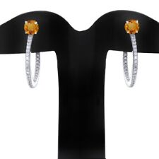 Citrine & Diamond Hoop Earrings 14k White Gold Over 925 Sterling Silver