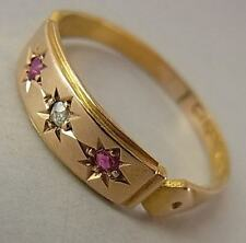 Antique Victorian (1880) OR 15 CT, Rubis & Bague Diamant
