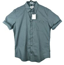 Calvin Klein Mens Small Black Snap Button Up Shirt Short Sleeve Slim Fit Grey S
