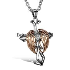 "22"" Stainless Steel Mens Women Angel Wing Celtic Cross Pendant Chain Necklace"