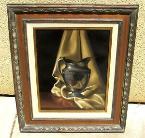 Paul DiBert Trompe l'oeil Still Life with Ewer on a Satin Drape oil painting