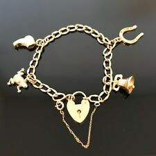 Vintage 9ct Gold Charm Bracelet with 4 Charms Heart Lock Fastener 10.5g  #213