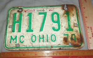 70s Ohio motorcycle license plate vintage collectible biker garage Oh MC tag