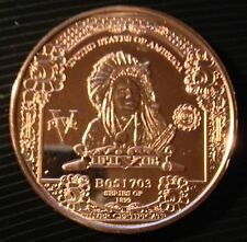 1 OZ COPPER ROUND 1899 $5 INDIAN CHIEF BANK NOTE DESIGN