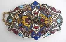 Antique French Champleve Enamel Belt Buckle Pierced Vtg Nouveau Gold Gilt Brass