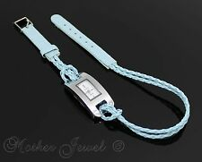 BABY BLUE 38CM DESIGNER DOUBLE LEATHER BRACELET GIRLS LADIES WRIST WATCH 15 INCH