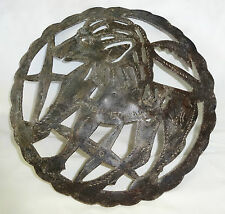 1980's Haitian Circular Pierced Steel Sculpture Donkey by Wilner Etheart (Stea)