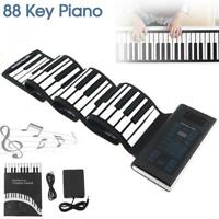 Travel Foldable 88 Keys Flexible Electronic Hand Roll Piano w/ Silicone Keyboard
